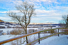 Panorama of swiss mountains landscape in winter Stock Photography
