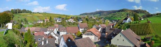 Panorama with the Swiss village Wintersingen Stock Image