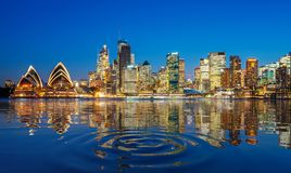 Panorama of Sydney harbour and bridge in Sydney city royalty free stock photo