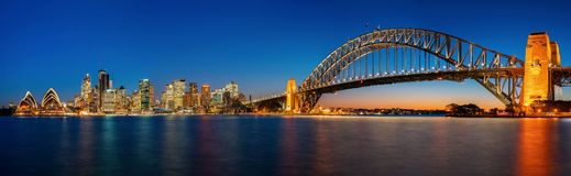 Panorama of Sydney harbour and bridge in Sydney city stock photography