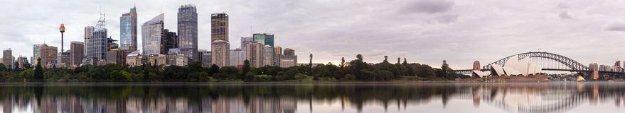 Panorama of sydney opera houses an CBD from Botanic gardens. Stock Photography