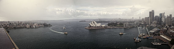 Panorama Sydney. Panoramatic view of Sydney from Harnour Bridge, Australia with Opera House Royalty Free Stock Photography