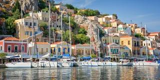 Panorama of Symi, Dodecanese island Greece. Panorama of Symi, Dodecanese island, Greece Royalty Free Stock Image