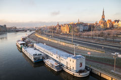 Panorama of Szczecin,old town and castle stock photography
