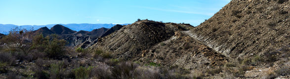 Panorama of Tabernas Desert in Spain Royalty Free Stock Image