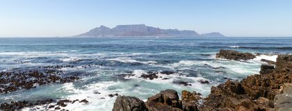 Panorama of Table Mountain, Cape Town, South Africa. Photographed on a summer`s day from Robben Island. stock photos