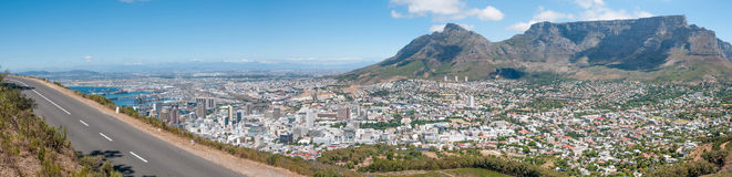 Panorama of Table Mountain and the city centre in Cape Town, Sou Royalty Free Stock Photo