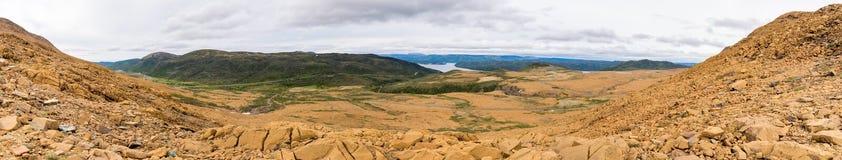 Panorama Tablelands Gros Morne park narodowy, wodołaz obrazy royalty free