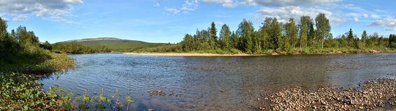 Panorama of the taiga river in the national Park. Royalty Free Stock Photo