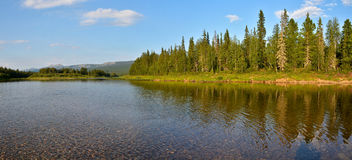 Panorama of the taiga river in the national Park. Stock Photos
