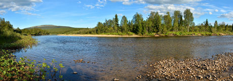 Panorama of the taiga river in the national Park. Stock Photography