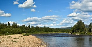 Panorama of the taiga river in the national Park. Stock Photo