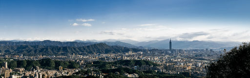 Panorama of Taipei City in Taiwan. A panoramic photo of Taipei City including Taipei 101 shot on a clear afternoon Stock Photography
