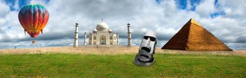 Panorama Taj Mahal panorámico, pirámides de la bandera del viaje Imagenes de archivo