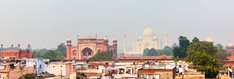 Panorama of Taj Mahal view over roofs of Agra Stock Photos