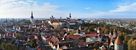 Panorama of the Tallinn Old Town Stock Photos