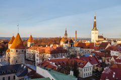 Panorama of Tallinn's old town at sunset Royalty Free Stock Photos