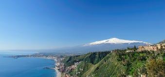 Panorama of Taormina. Beautiful panorama of Taormina, you can see the Etna's Mountain Royalty Free Stock Photography