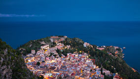 Panorama of Taormina during the blue hour Stock Photo