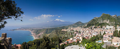 Panorama of Taormina with the Etna Volcano Stock Image