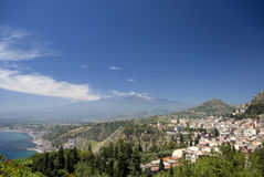 Panorama taormina mt. etna Royalty Free Stock Image