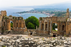 Panorama of Taromina bay from ancient greek theater in Taormina, Sicily Royalty Free Stock Image