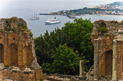 Panorama of Taromina bay from ancient greek theater in Taormina, Sicily Royalty Free Stock Photo