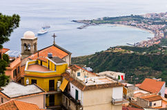 Panorama of Taromina bay from Castelmola in Sicily Stock Photography
