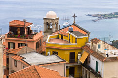 Panorama of Taromina bay from Castelmola in Sicily Royalty Free Stock Photography