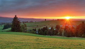 Panorama of Tatra Mountains in spring time, Poland Royalty Free Stock Images