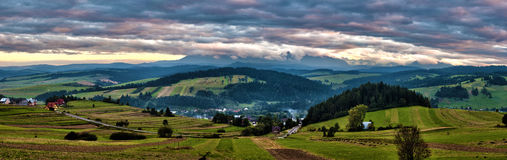Panorama Tatras mountains sunset Royalty Free Stock Photography