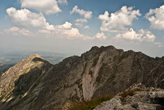 Panorama of Tatry Mts. peak from Orla Perc hiking trail Stock Images