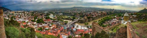 Panorama Tbilisi, Gruzja, Narikala, May 2017 zdjęcie royalty free