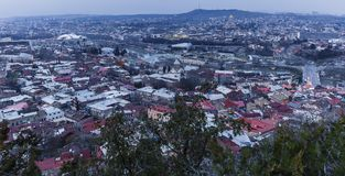 Panorama of Tbilisi at sunset Stock Images