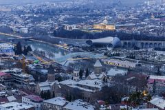 Panorama of Tbilisi at sunset Stock Image