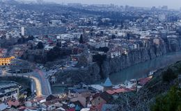 Panorama of Tbilisi at sunset Royalty Free Stock Images