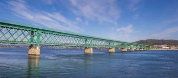 Panorama of te green steel bridge in Viana do Castelo Stock Photo