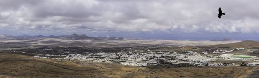 Panorama of Teguise with silhouette of a falcon - Teguise, Lanzarote Royalty Free Stock Photography