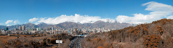 Panorama of Tehran Skyline with Alborz Mountains and Jungles Surrounding the Buildings Stock Image