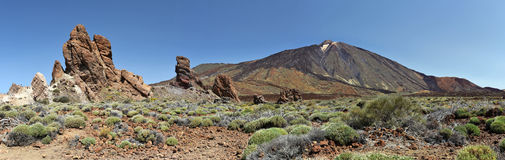 Panorama of Teide Mount and Los Roques. In Tenerife Island Royalty Free Stock Photography