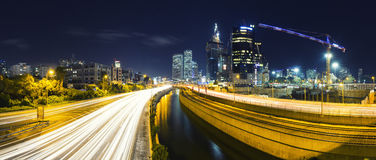 Panorama Of Tel Aviv City And Ayalon Freeway At Night Stock Photo