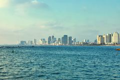 Panorama of Tel Aviv at sunset, coastal line with hotels royalty free stock photos
