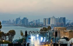 Panorama of Tel Aviv at sunset, coastal line with hotels. View of the stage for performances, evening concerts for the royalty free stock image