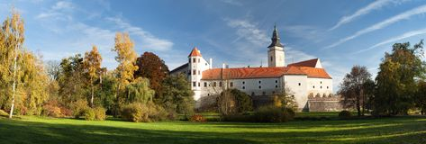 Panorama of Telc or Teltsch town castle or chateau Royalty Free Stock Images