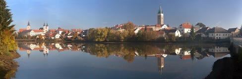 Panorama Telc or Teltsch town mirroring in lake Royalty Free Stock Image