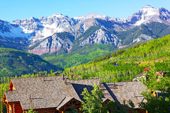 Panorama of Telluride Mountains and houses in Colorado, USA. Stock Images