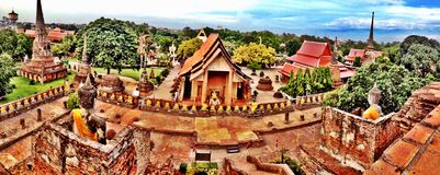 Panorama in a temple of Ayuthaya Thailand. (historical area Stock Photos