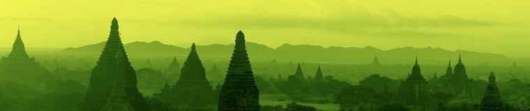 Panorama of the temple complex of Bagan at sunrise Royalty Free Stock Image