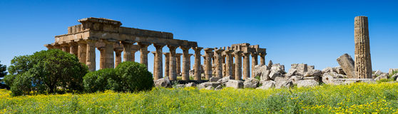 Panorama of the Temple District, Selinunte Royalty Free Stock Photos