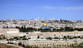 Panorama of the Temple Mount, Al Aqsa Mosque, the Old City and t. Panorama of the Temple Mount, Al Aqsa Mosque centered, the Old City and the modern Jerusalem Stock Images